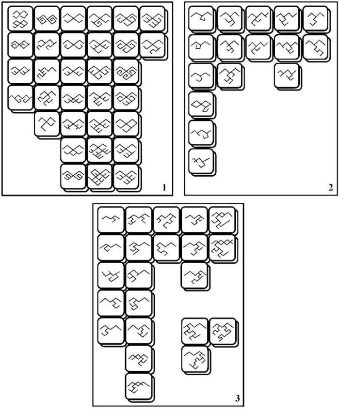 Рис. 2. Меандровый орнаментальный блок. Группа «ковровых» меандров: 1 - «ковровые» меандры А-типа; 2 - «ковровые» меандры Б-типа; 3 - «ковровые» меандры В-типа