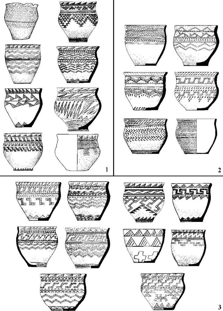 Рис. 6. Композиционные вариации андроновского орнамента: 1 - классический моносюжет; 2 - ложноклассический моносюжет; 3 - классический полисюжет