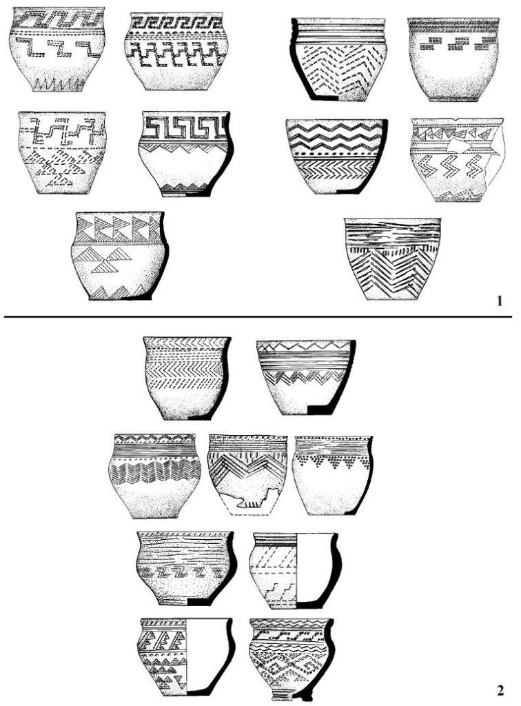 Рис. 7. Композиционные вариации андроновского орнамента: 1 - редуцированный полисюжет; 2 - неоклассический полисюжет