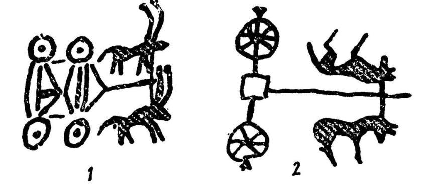 Рис. 37. Изображение повозок и колесниц: 1 - профиль; 2 — план