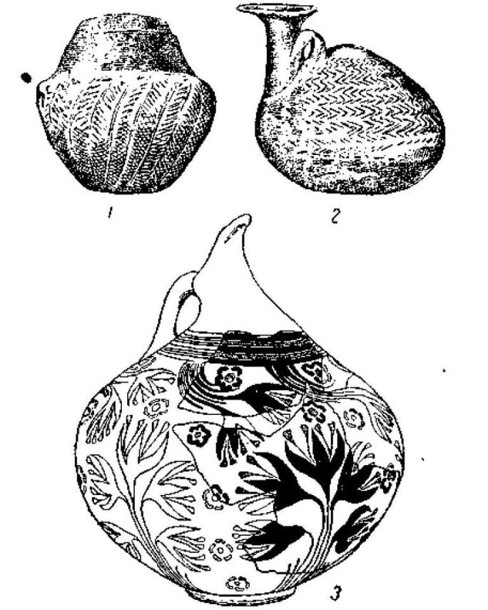 Рис. 28. Кикладская керамика: 1 — Пелос, 2 — Филакони 1,3 — Филакони II.