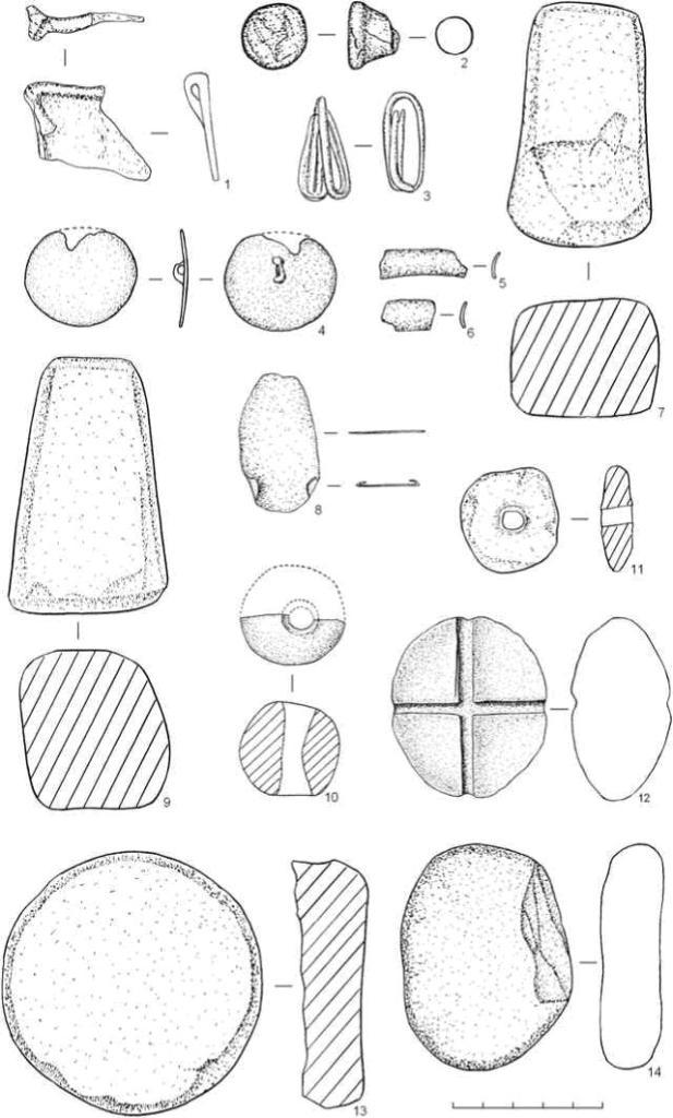 Рис. 3. Поселение Оськино Болото. Вещевой инвентарь: 1, 3, 4-6, 8 — бронза; 2, 11-12 — глина; 7, 9-10,13-14 — камень Из прочих находок стоит упомянуть изделия из глины: разнообразные пряслица (рис. 3, 11), катушки (рис. 3, 2), фишки; из камня — точильные бруски (рис. 3, 14), пряслица, необработанные гальки.