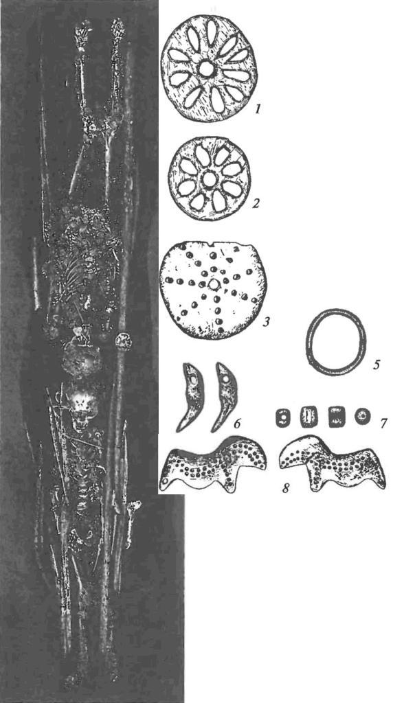 Двойное погребение детей на стоянке Сунгирь и предметы искусства, найденные в погребении и на стоянке: 1,2 — резные диски; 3 — костяной диск с точечным орнаментом; 4 — жезл из бивня; 5 — перстень из бивня; 6 — подвески из клыков песца; 7 — костяные бусины; 8 — лошадка с точечным орнаментом (из культурного слоя)