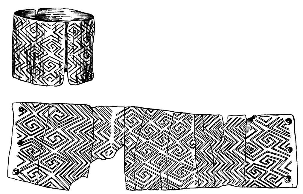 12. Браслет из бивня мамонта с меандровым орнаментом. Мезино, Поздний палеолит.
