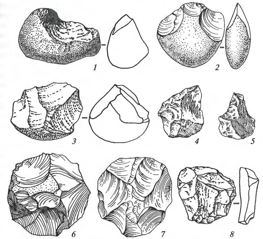 Орудия олдувайской эпохи: 1 — чоппер; 2, 3 — чоппинги; 4, 5, 8 — орудия на отщепах; 6, 7 — дисковидные нуклеусы