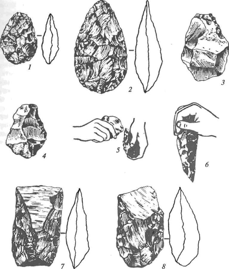 Основные орудия ашельской эпохи: 1-4 — рубила; 5 — изготовление рубила; 6 — использование рубила; 7, 8 — кливеры (колуны)