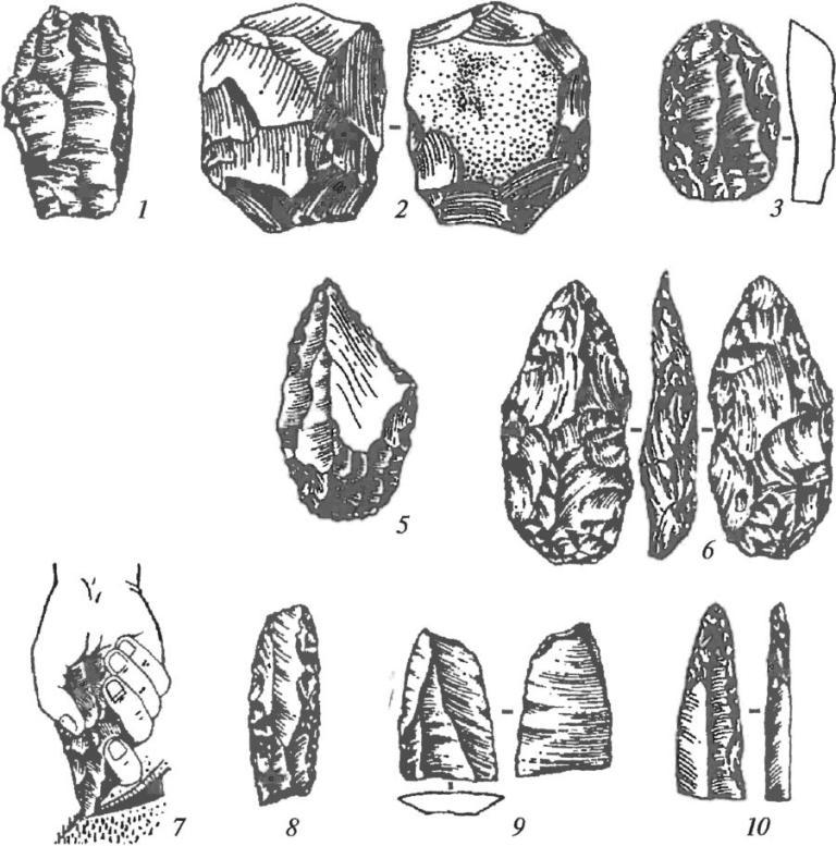 Орудия мустье: 1 — подпризматический нуклеус; 2 — дисковидный (леваллуазский) нуклеус; 3 — скребок; 4, 5 — остроконечники; 6 — бифас; 7 — использование остроконечника; 8 — скребло; 9 — резец; 10 — острие