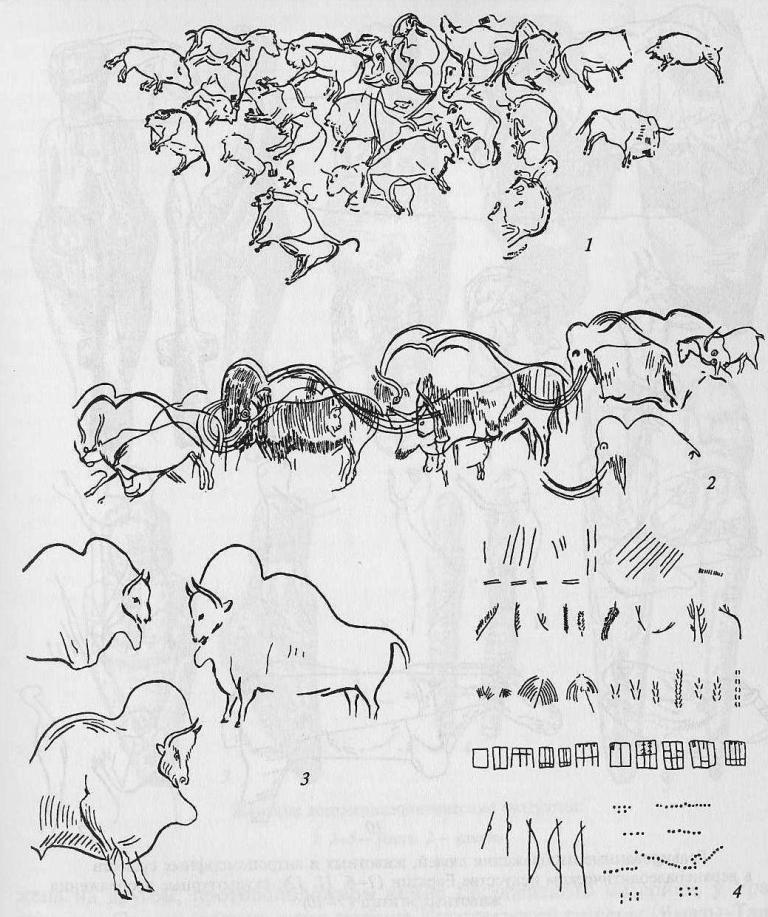 Изображения и знаковая система в верхнем палеолите; изображение из пещеры Альтамира; 2 - процессия животных из пещеры Фон де Гом; 3 - пещера Фон де Гом; 4 - верхнепалеолитические знаки на стенах пещер