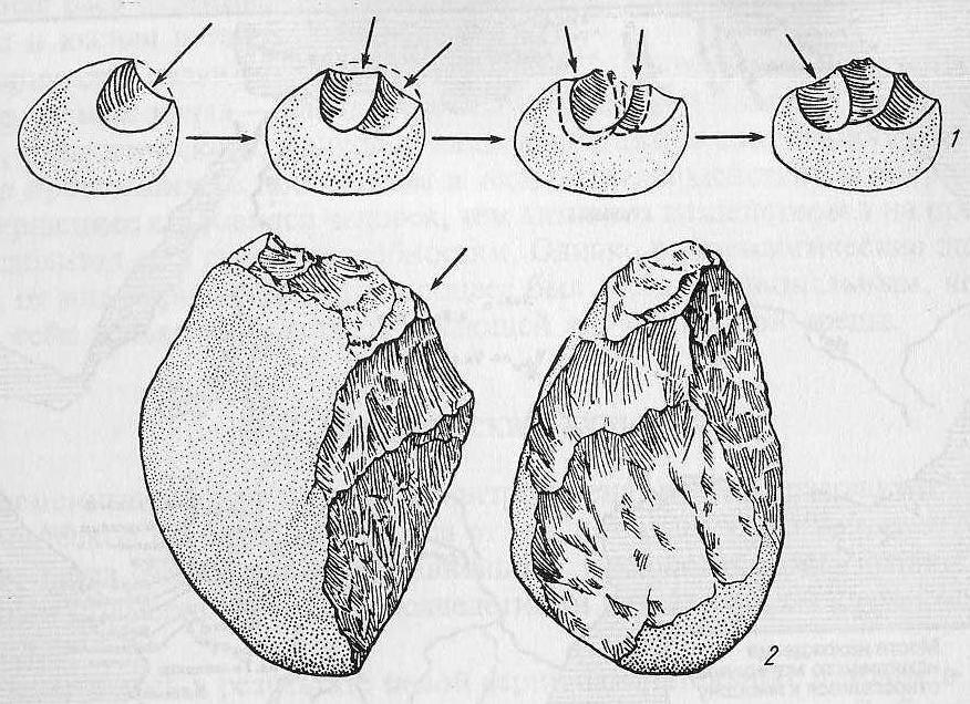 Олдувайская культура: 1 — техника обработки камня (по Р. Лики); 2 — древнейшие орудия труда из гальки
