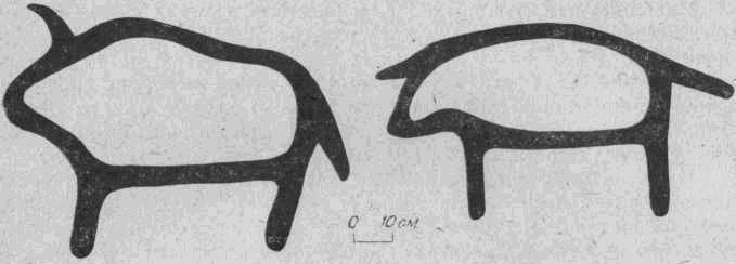 Рис. 3. Бырка. Плоскость № 1. Первая группа, рисунков, изображения бизона.