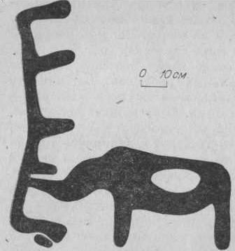 Рис. 4. Бырка. Плоскость № 1. Вторая группа рисунков, изображение носорога.