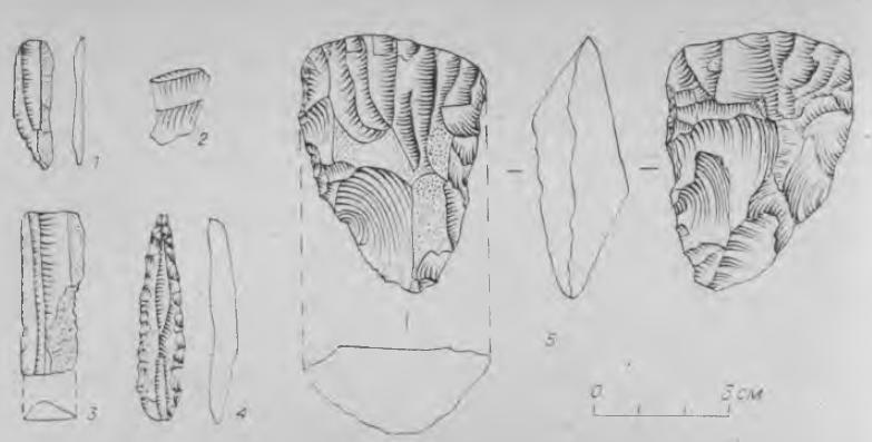 Рис. 2. Каменные изделия местонахождения Малый Липовый XIV.