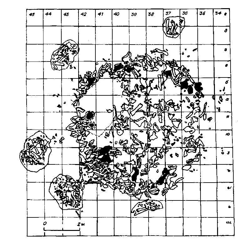 Рис. 93. План округлого позднепалеолитического жилища из костей мамонта с окружающими его хозяйственными ямами (Костёнки XI; по А.Н. Рогачеву)