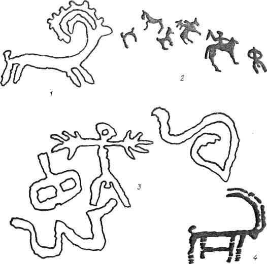Рис. 22. Западный Памиро-Алай: 1 — Карнаб; 2 — Илан-Сай; 3 — Верхние Чинары [Шацкий. 1973]; 4 — Чадак-сай [Шацкий, 1973]