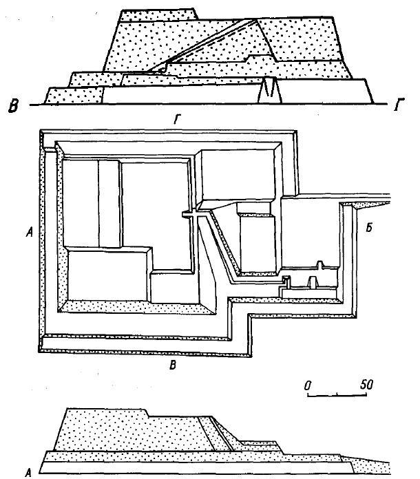 Рис. 12. Пампа-Гранде, Перу. Пирамида Уака-Форталес.