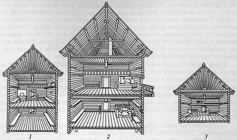 Реконструкция новгородских изб: 1 - изба на хозяйственной подклети; 2 - изба на жилой подклети (двухэтажная); 3 - баня (
