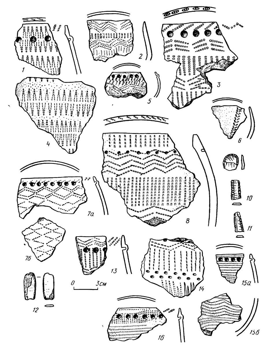 Рис. 2 Переходное время от неолита к металлу. Нижнее Притоболье. Керамика и каменный инвентарь сосновоостровского этапа. Поселение Байрык 1Д (1—16)