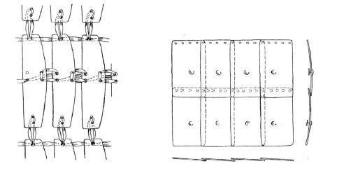 Рис. 5. Скрепление частей пластинчатого панциря. Рис. 6. Скрепление частей чешуйчатого панциря.