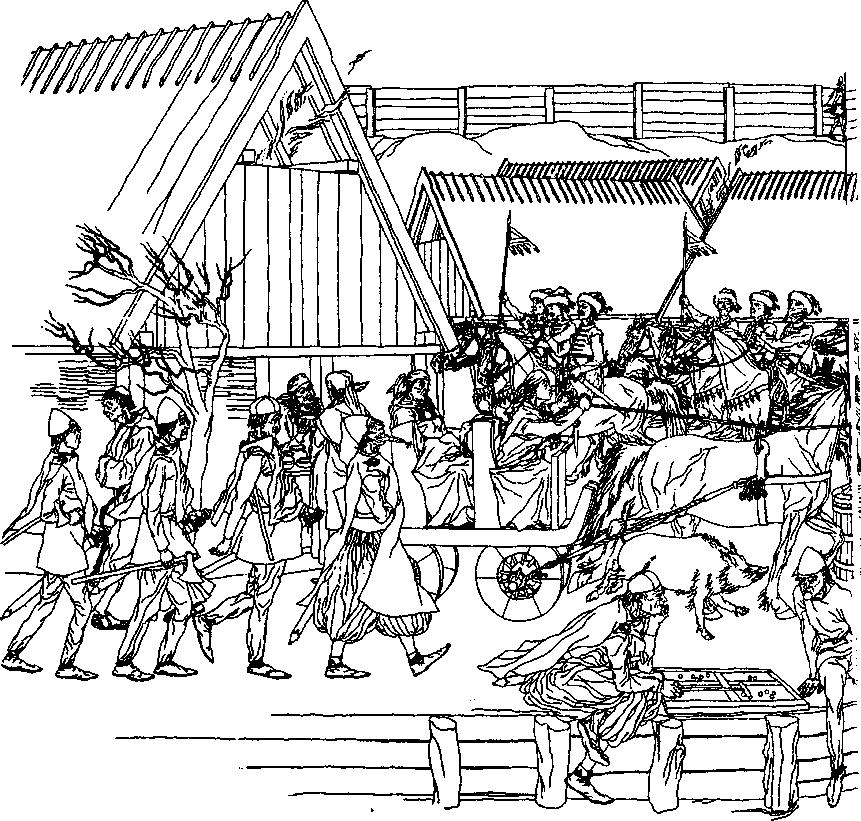 Рис. 52. Панорама Хедебю в эпоху викингов, Реконструкция Б. Альмгрена по данным раскопок Г. Яикуиа