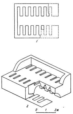 Рис. 16. Печь для обжига плинфы. 1 — план; 2 — реконструкция.