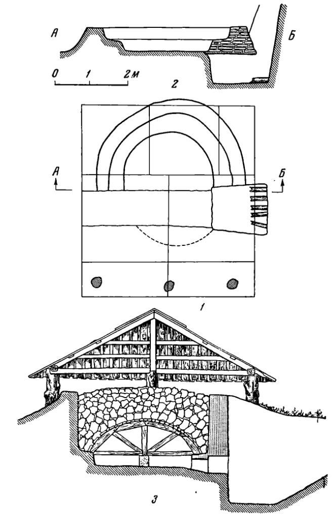 Рис. 17. Печь для выжигания извести. 1 — план; 2 — разрез по АБ; 3 — реконструкция.