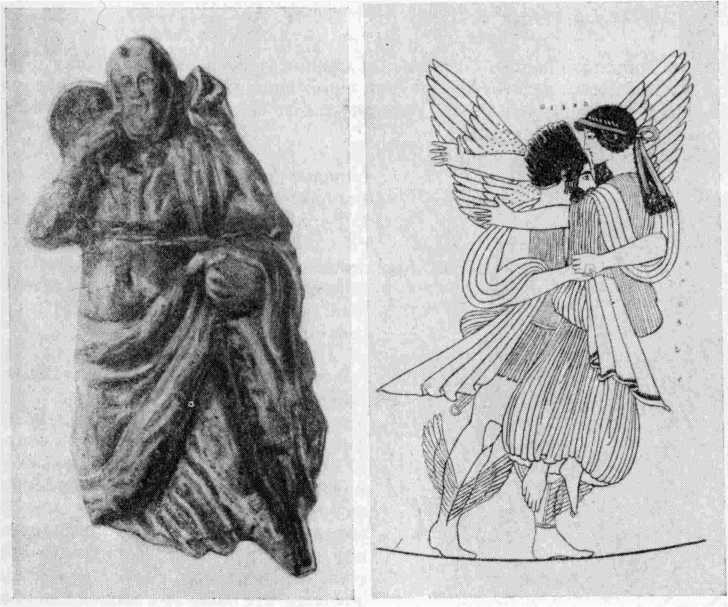 Рис. 2. Гипсовая односторонка, изображающая «педагога», найденная в некрополе Пантикапея в 1832 г. Рис. 3. Изображение Борея на вазе V в. до н. э.