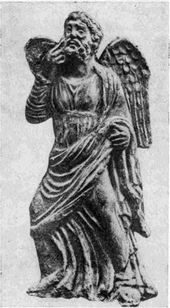 Рис. 1. Терракотовая односторонка, изображающая «педагога», найденная в некрополе Пантикапея в 1891 г.