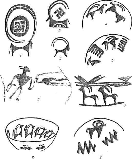 Табл. VII. Рисунки животных на передневосточной керамике эпохи бронзы [Гиршман, 1963; Малеки, 1968]: 1, 6, — Сузы; 2, 5, — Гиссар I; 3 — Гиян V; 4, 7—9 — Исмаилабад