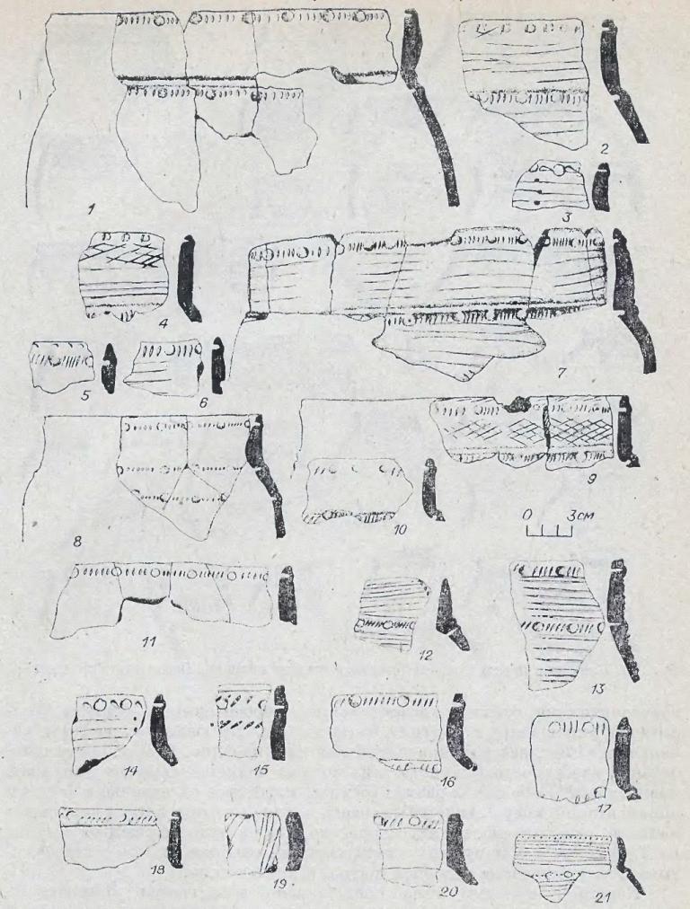 Рис. 79. Керамика переходного от бронзы к железу времени. Памятник Туруновка-4.