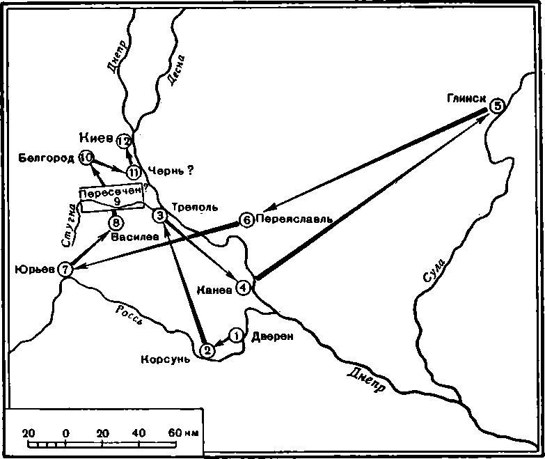 Рис. 1. Местоположение города Пересечна, по данным Воскресенской летописи