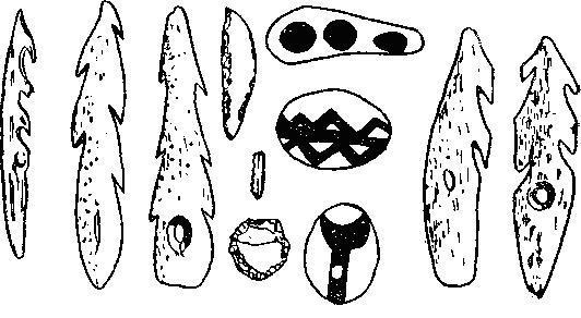 Рис. 2. Мадленский гарпун из Кантабрии и азильские гарпуны и расписные гальки из Арьежа (3/4).