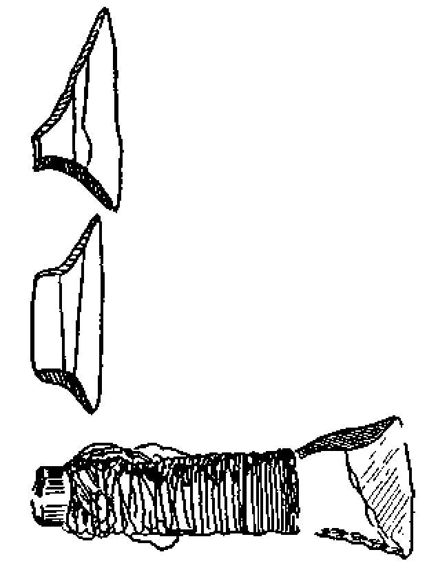 Рис. 4. Микролиты из Муже (Португалия) и прикрепленный к древку наконечник стрелы с поперечно срезанным лезвием (Дания) (2/1).