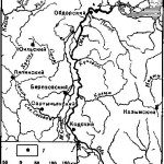 Рис. 15. Схема расположения первых русских городков в Сибири