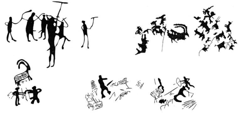 Рис. 3.25. Петроглифы эпохи бронзы (по А.А. Горячеву, А.Н. Марьяшеву, С.А. Потапову)