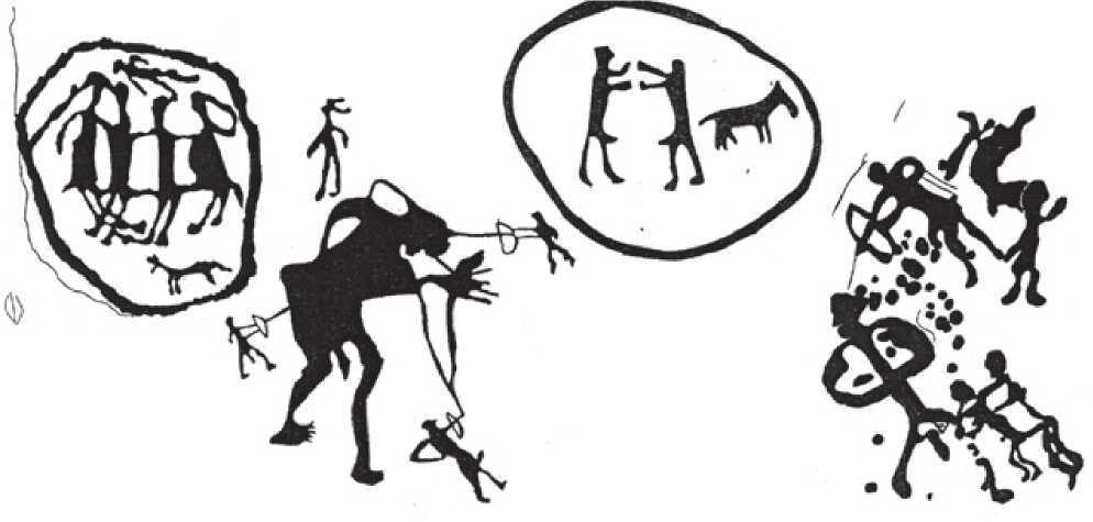 Рис. 3.23. Петроглифы эпохи бронзы (по А.А. Горячеву, А.Н. Марьяшеву, С.А. Потапову)
