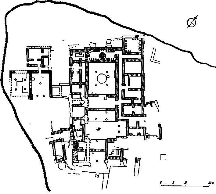 Рис. 7. План дворца в Пилосе после раскопок 1955 г.
