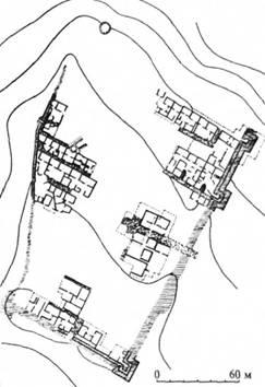 Рис. 28. План боспорської фортеці Ілурат (за І. Г. Шургая)