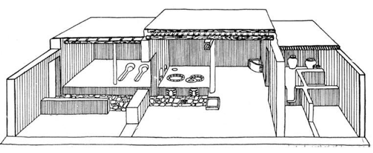 Рис. 6.36. Графическая реконструкция жилого дома, XVIII в. Отрар-тобе