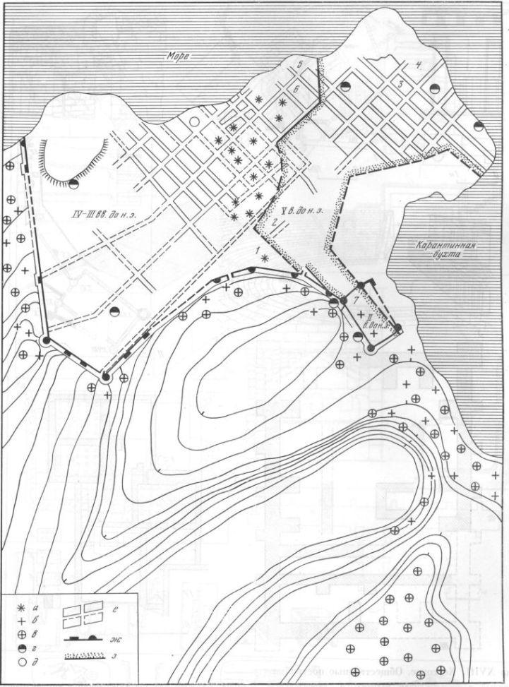 Таблица XVII. План Херсонеса 1 — театр; 2 — монетный двор; 3 — общественное здание III в. до н. э. на главной улице; 4 — храм III в. до н. э. \ 5— общественное здание I—III вв. н. э.; 6 — дом с мозаикой II в. до н. э.; 7— термы на территории так называемой цитадели; а — некрополь V—IV вв. до н. э.; б— некрополь III —II вв. до н. э.; в — некрополь I—IV вв. н. э.; г — гончарные мастерские; д — стеклоделательная печь; е — жилые кварталы; ж — оборонительные стены; з — примерные границы города в V—IV вв. до н. э.