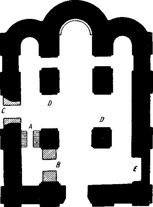 Рис. 49а. Киев. План храма на Вознесенском спуске (по данным раскопок П. А. Лашкарева).