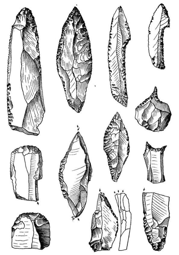 Позднепалеолитические кремневые орудия (Костенки-1, Тельманская стоянка, Мезин)
