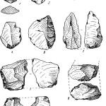 Рис. 17. Кремневые орудия мустьерского времени. 1 — 6 — из Ожева, 7 — из Наславчи; 8 — 10 — из Бабии I