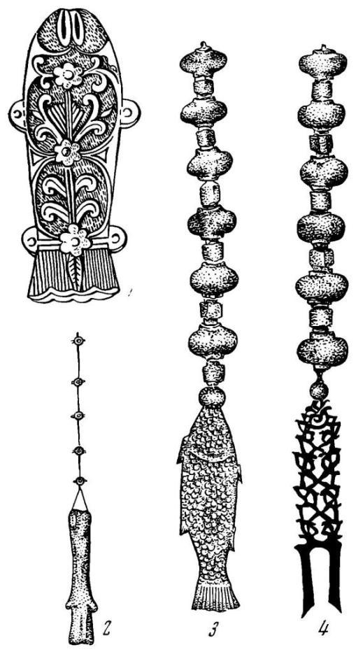 Рис. 2. Подвесные рыбки от пояса. 1 — из Березовского могильника, курган № 13, 2—4 — из «Кургана золотой короны» (Южная Корея, Кёнчжу)