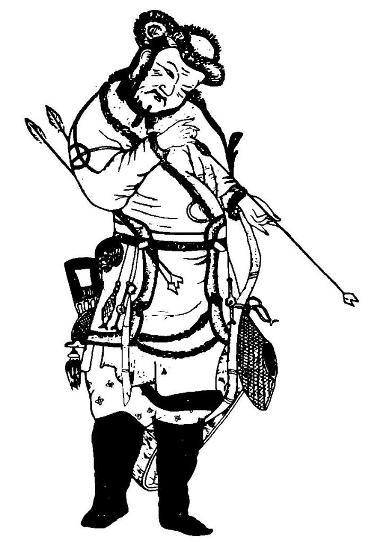 Рис. 3. Выкопировка фрагмента картины сунского художника Чжао Бо-сюй «Возвращение домой фаньского всадника с охоты»