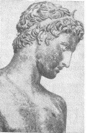 Рис. 1. Голова бронзовой статуи юноши, найденной в море около Марафона