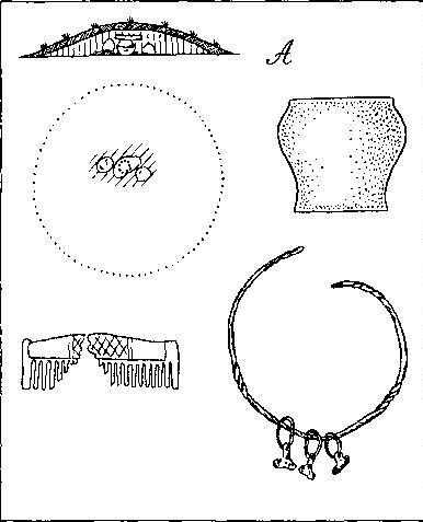 Рис. 31. Погребения типа А. Разрез и план кургана, погребальный инвентарь