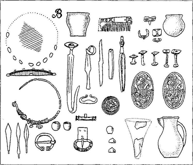 Рис. 32. Погребения типа В. План и разрез кургана, погребальный инвентарь