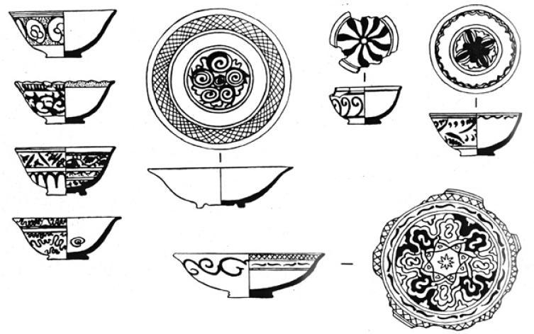 Рис. 6.38. Поливная керамика конца XVII — XVIII вв.