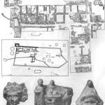 Таблица XXXIII. Порфмий 1 — план городища; 2 — план раскопанного участка; 3—5 — импортные терракоты. Составитель Е. Г. Кастанаян