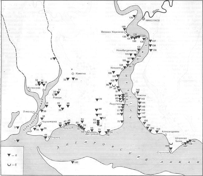 Карта 3. Поселения Нижнего Побужья IV—III вв. до н. э. а — поселения; б — некрополи